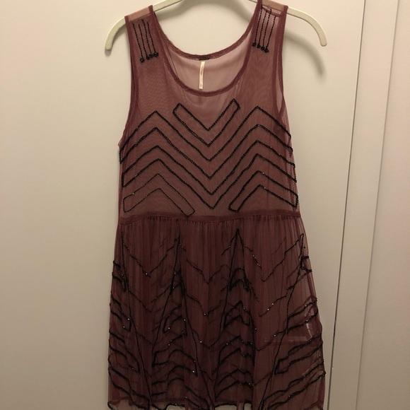 0761ab63 Free People Dresses | Burgundy Sequin Mesh Slip Dress Small | Poshmark